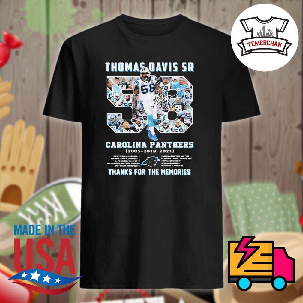 Thomas Davis Sr Carolina Panthers 2005 2018 2021 thanks for the memories shirt