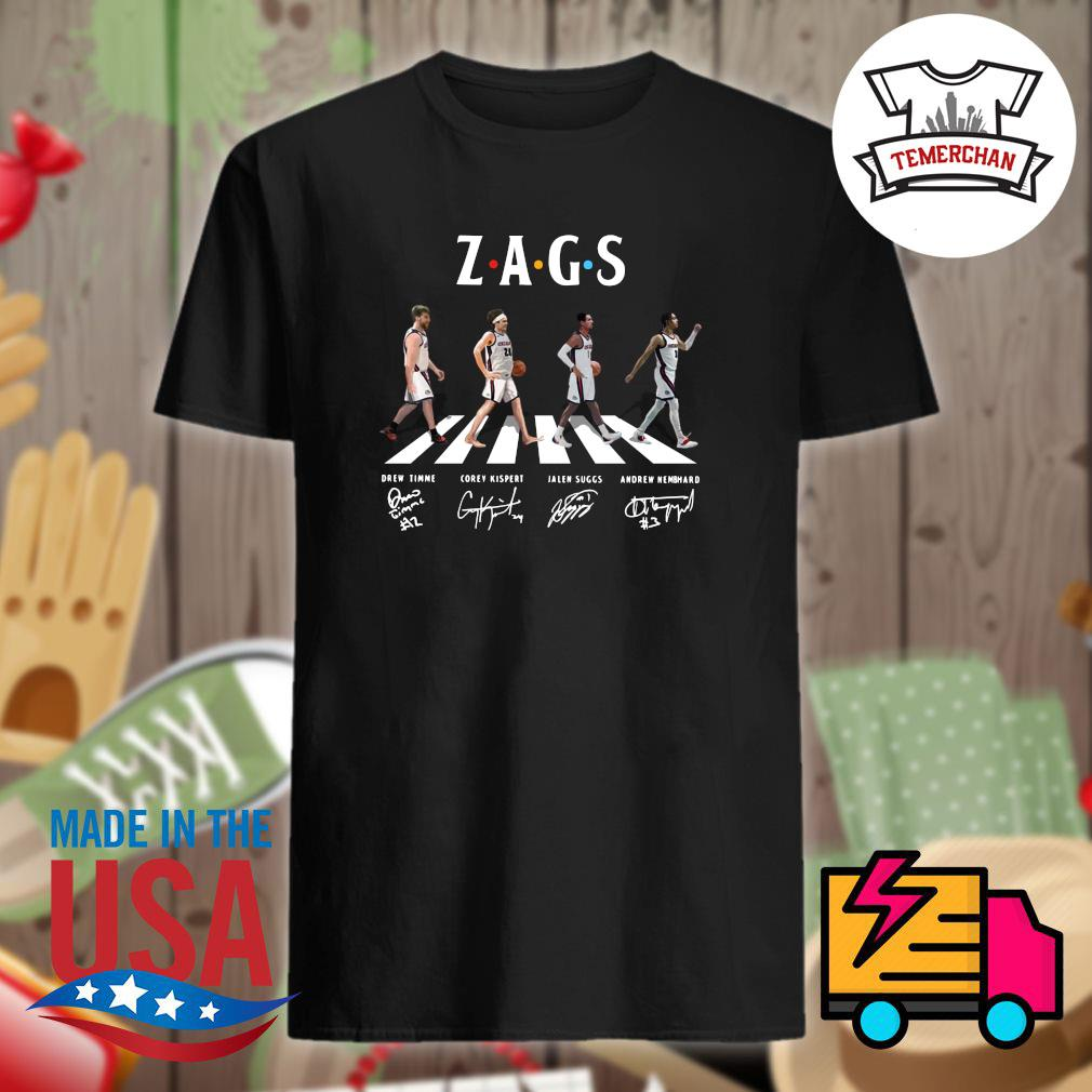 Zags abbey road Drew Timme Corey Kispert Jalen Suggs Andrew Nembhard signatures shirt