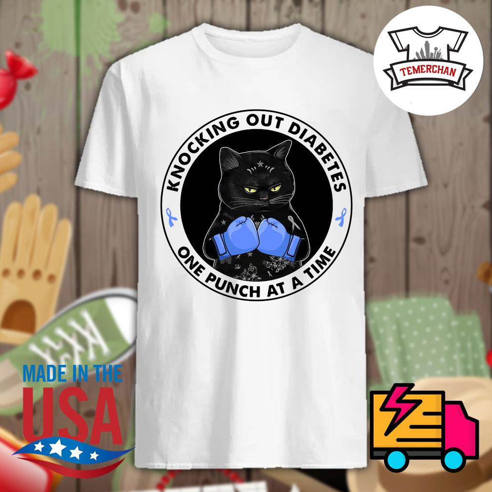 Back cat knocking out diabetes one punch at a time shirt