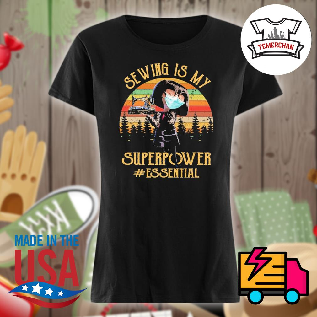 Edna Mode face mask Sewing is my superpower essential vintage s Ladies t-shirt