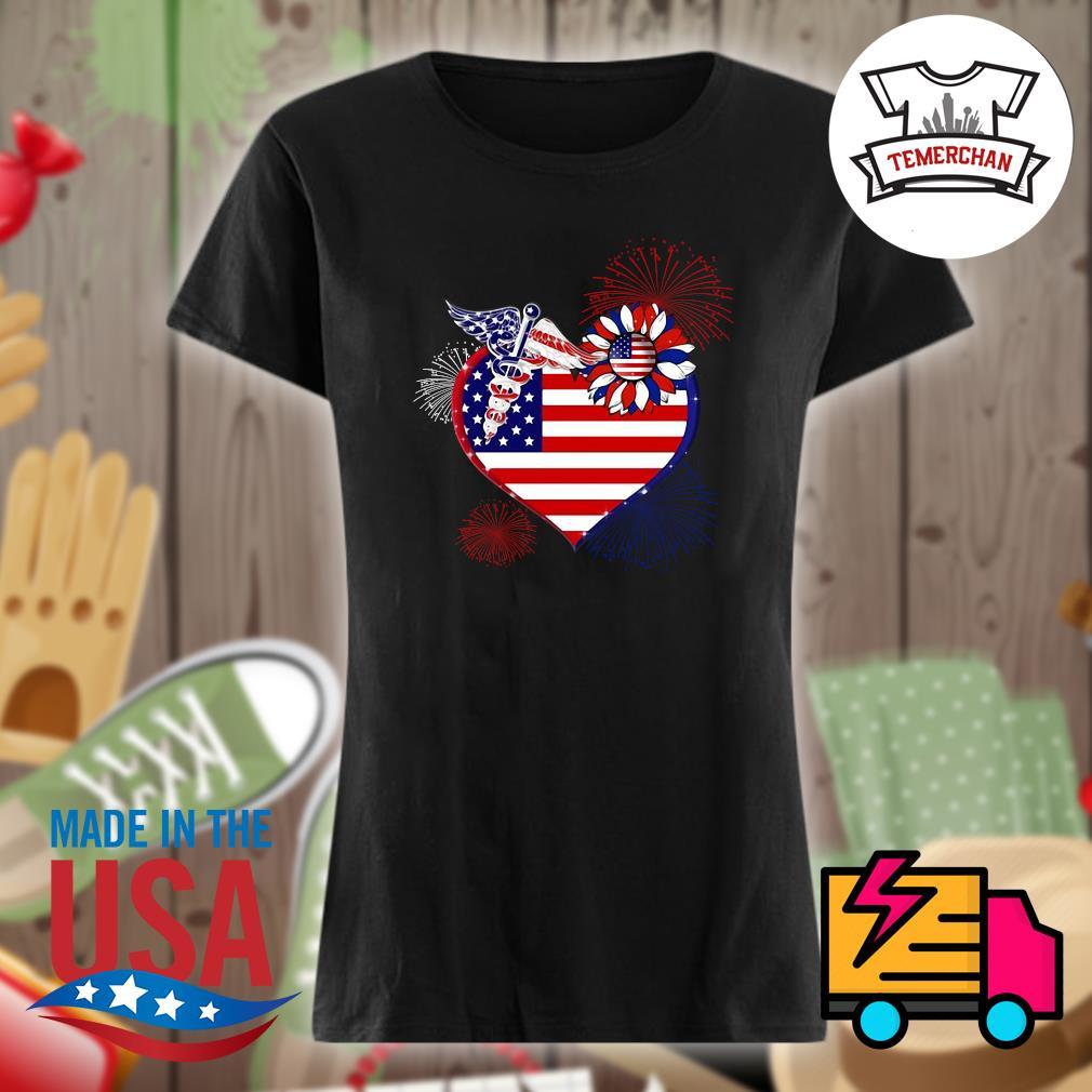 Nurse USA sunflower in my heart s Ladies t-shirt