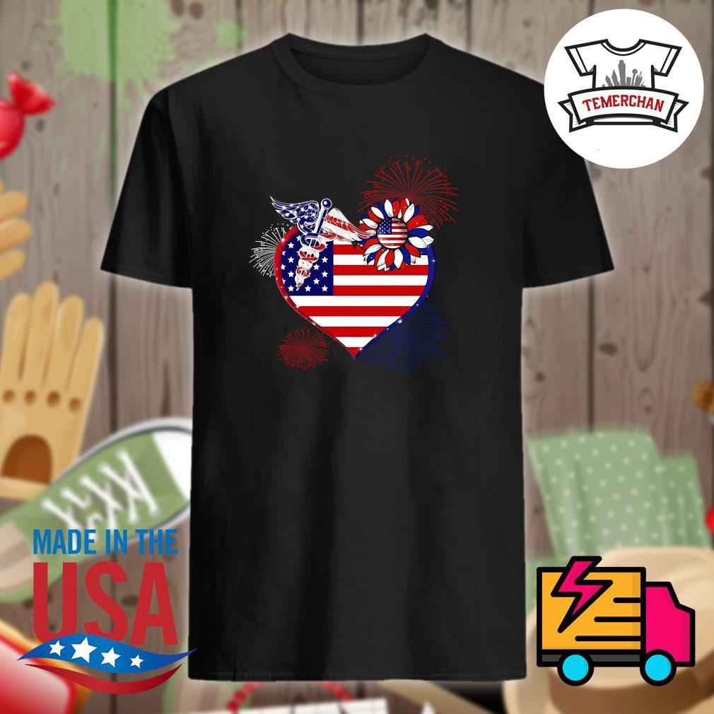 Nurse USA sunflower in my heart shirt
