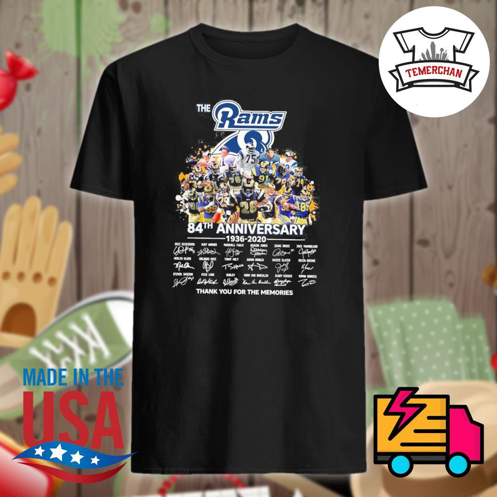 The Rams 84th anniversary 1936-2020 signature thank you for the memories shirt