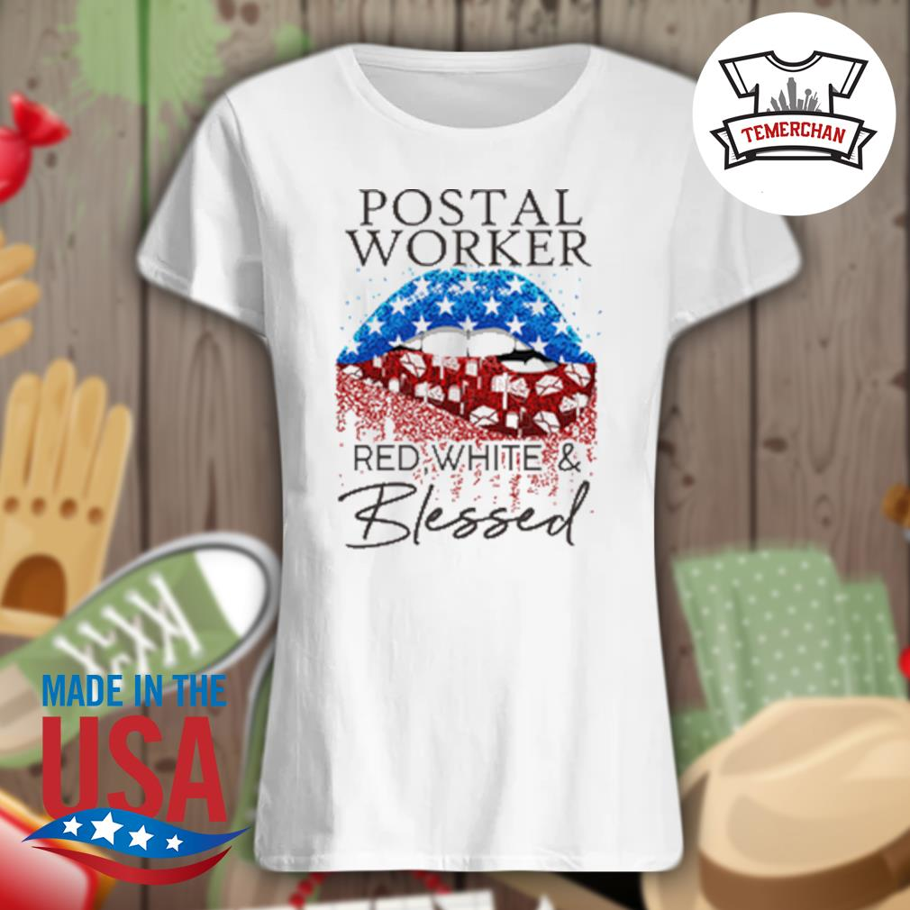 Postal worker red white and blessed s Ladies t-shirt