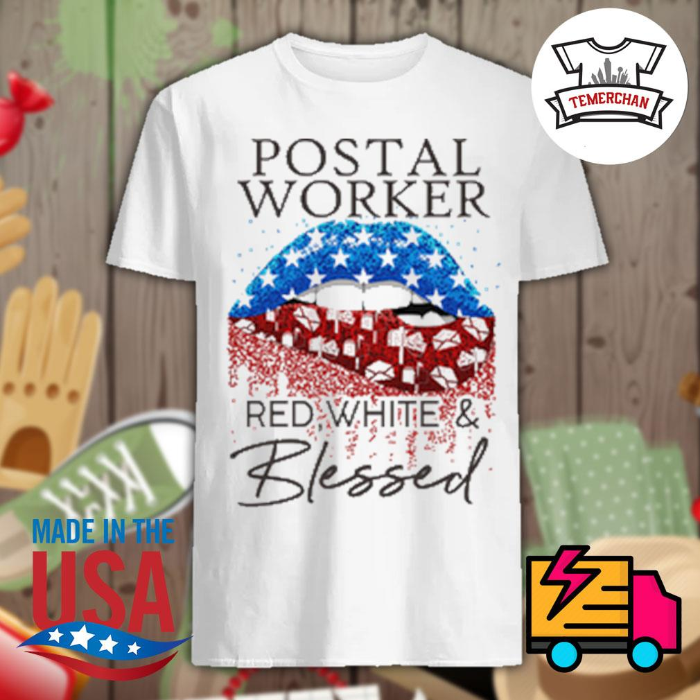 Postal worker red white and blessed shirt