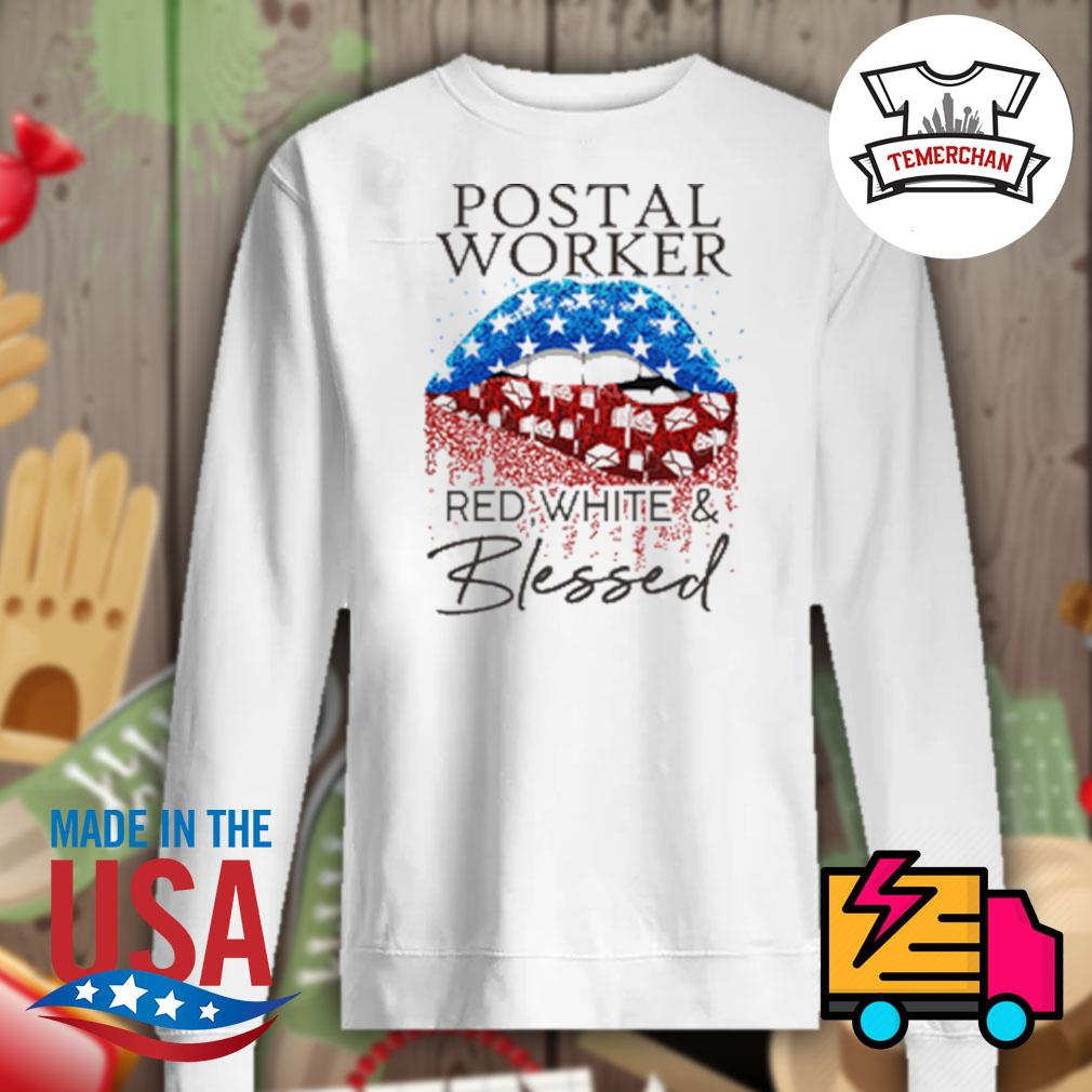 Postal worker red white and blessed s Sweater