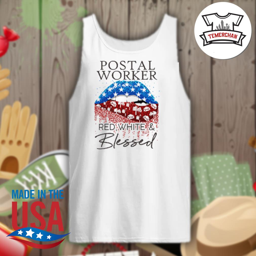 Postal worker red white and blessed s Tank-top
