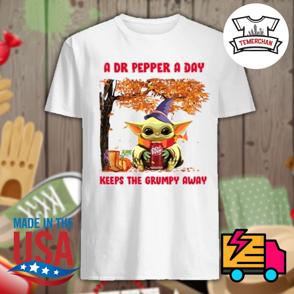 Baby Yoda a Dr Pepper a day keeps the grumpy away Halloween tree shirt