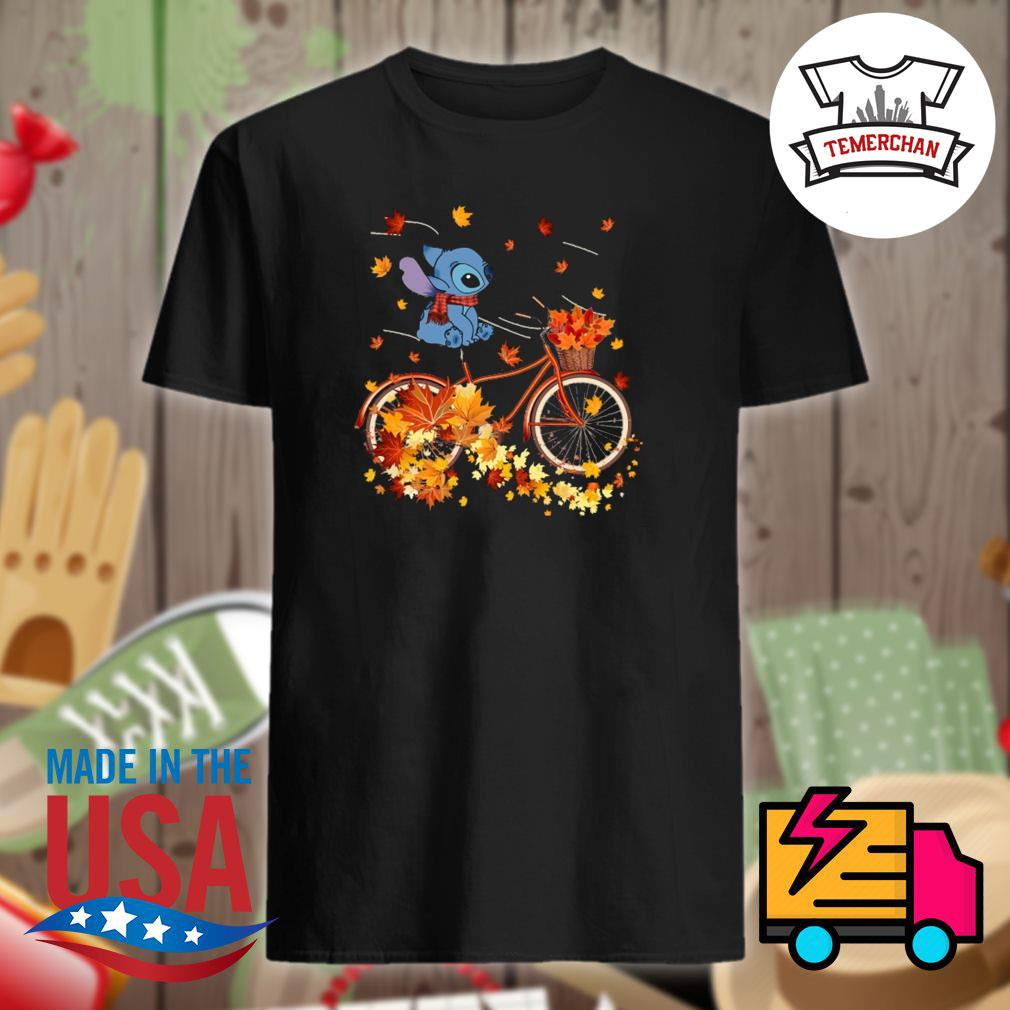 Stitch riding bicycle autumn vibes shirt