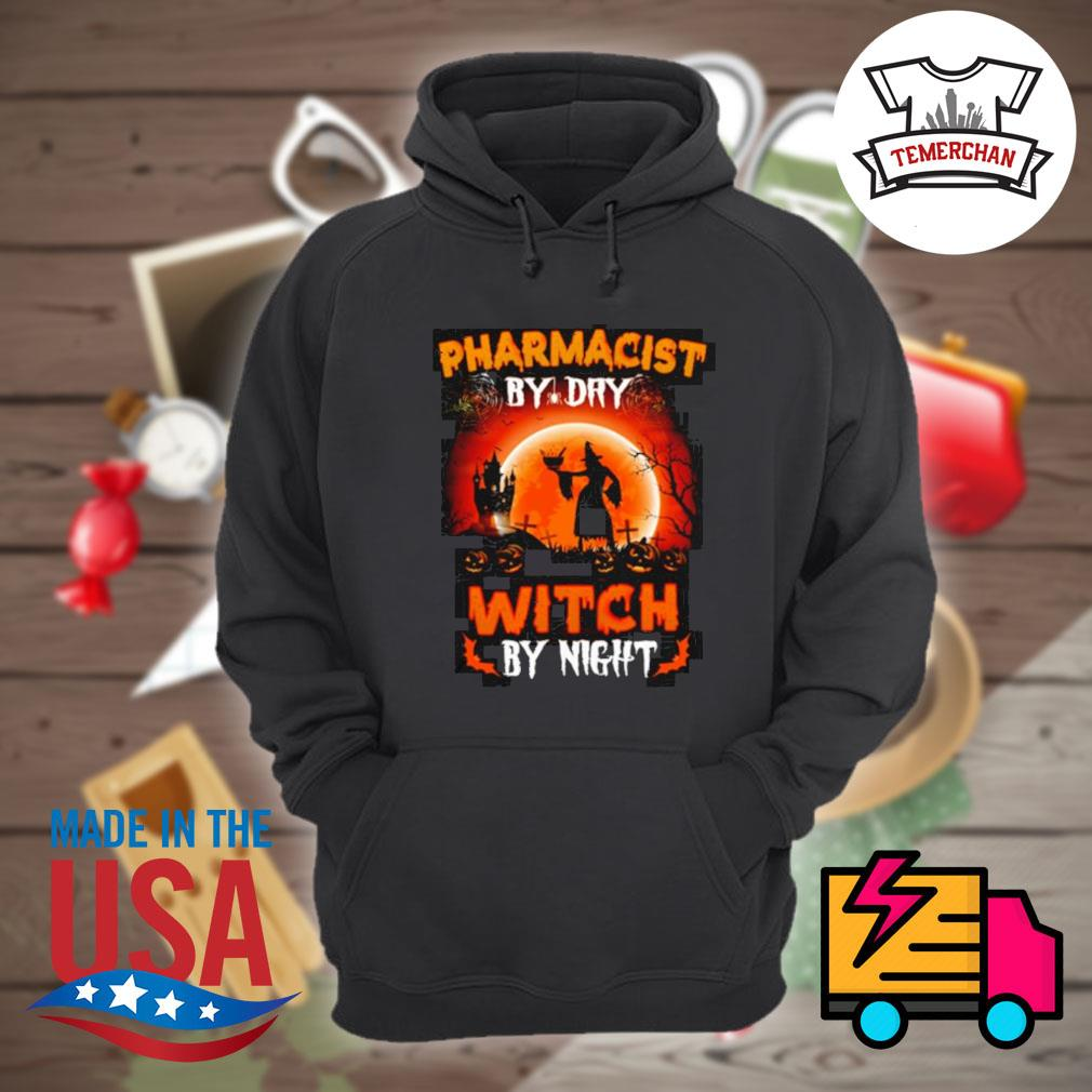 Witch sitting on broom Pharmacist by dry witch by night s Hoodie