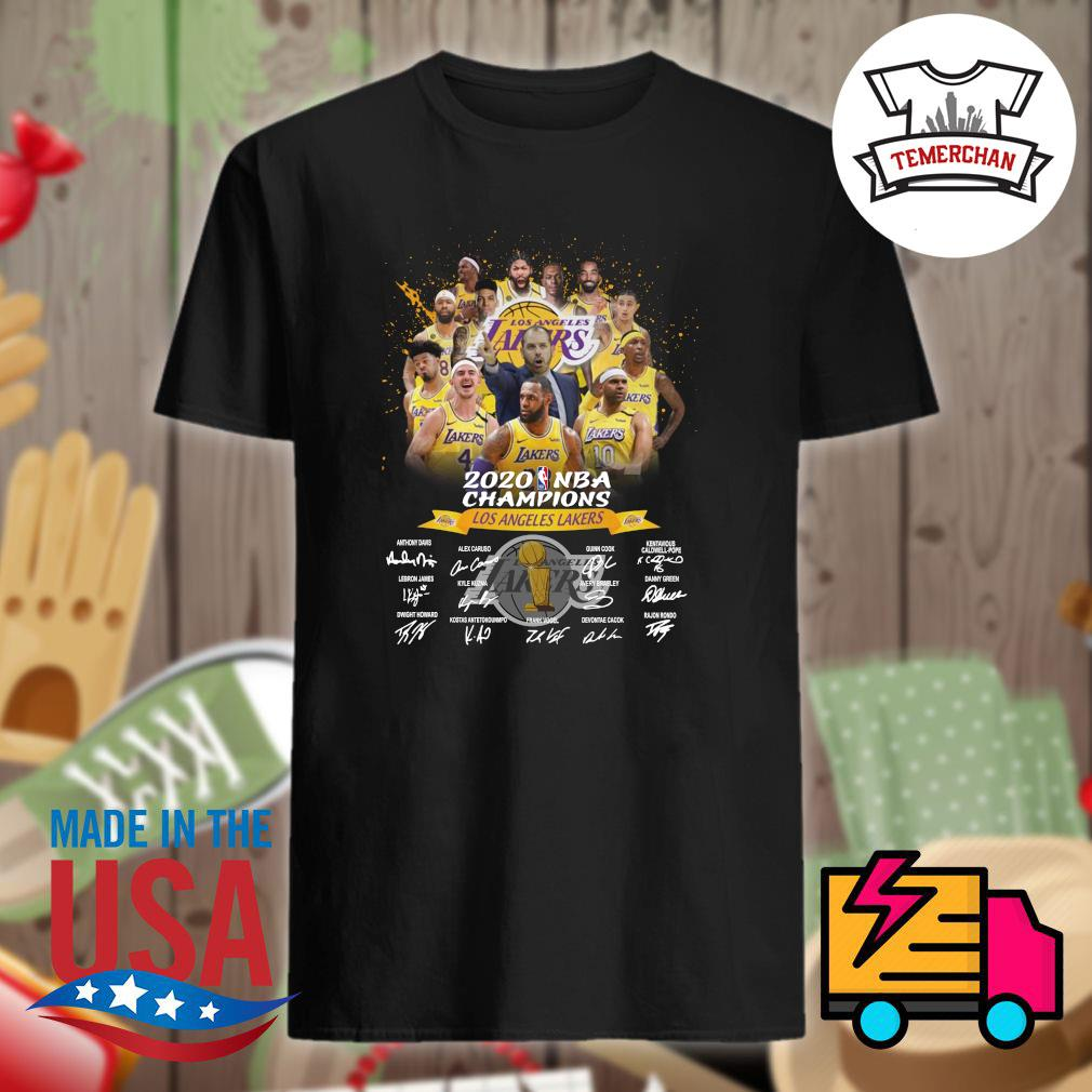 2020 NBA Champions Los Angeles Lakers players signatures shirt