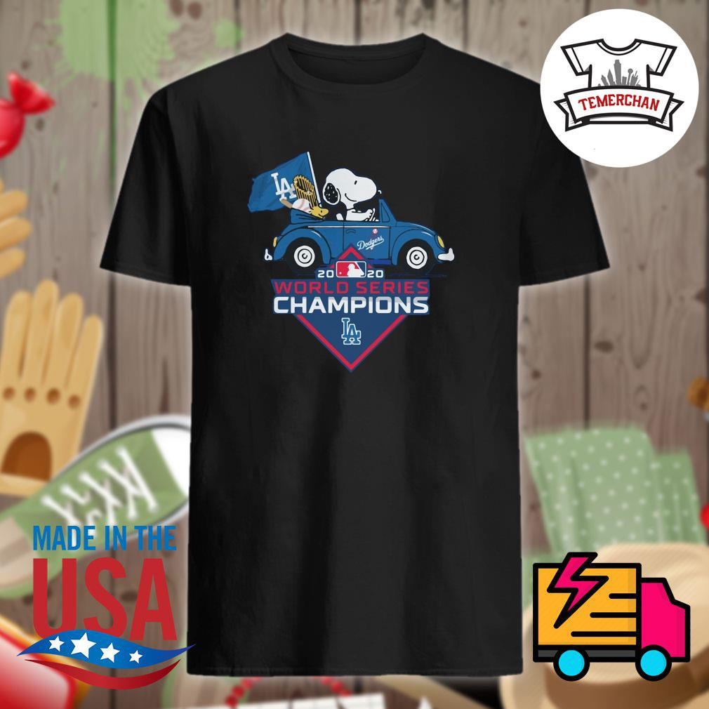 Snoopy and woodstock drive car Los Angeles Dodgers 2020 world series Champions shirt