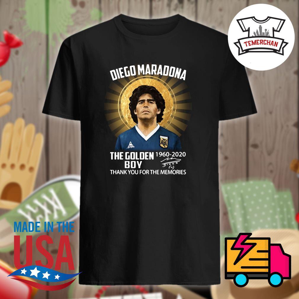 Diego Maradona the Golden Boy 1960 2020 signature thank you for the memories shirt