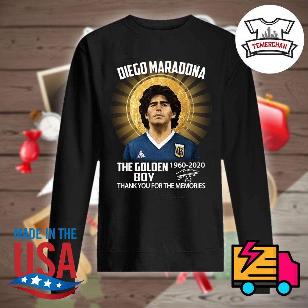 Diego Maradona the Golden Boy 1960 2020 signature thank you for the memories s Sweater
